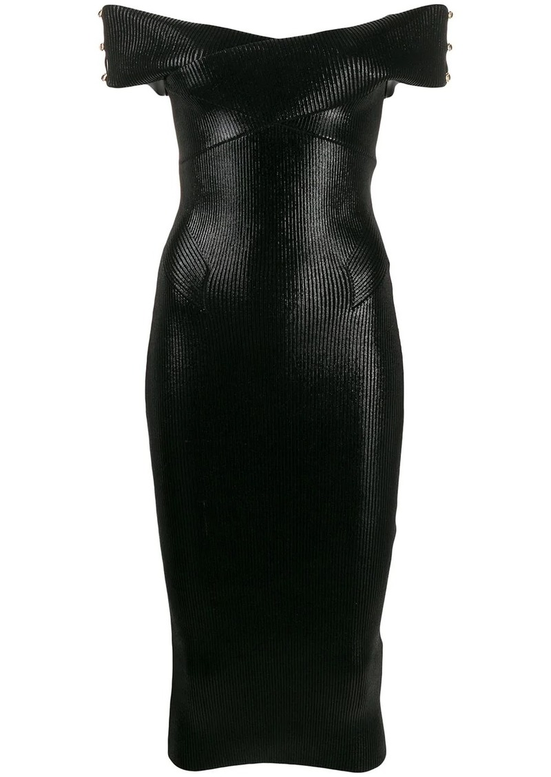 Versace fitted off-shoulder midi-dress