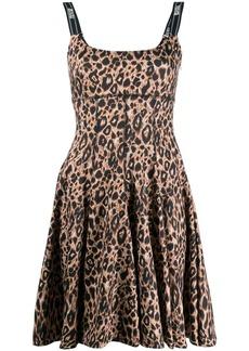 Versace flared leopard print mini dress