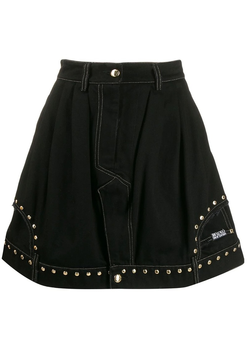 Versace flared studded skirt