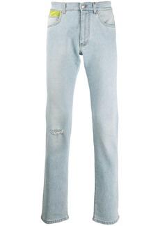 Versace floral patch jeans
