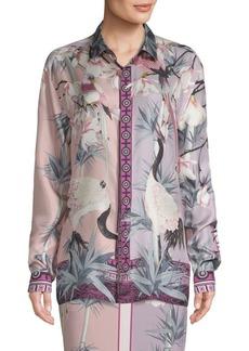 Versace Floral-Print Button-Down Shirt