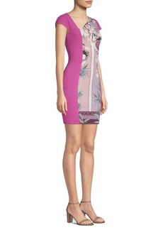 Versace Floral-Print Cap-Sleeve Dress