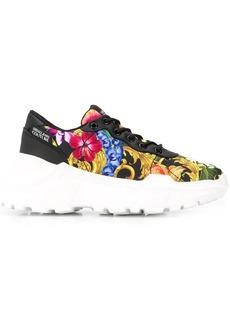 Versace floral-print satin wedge sneakers