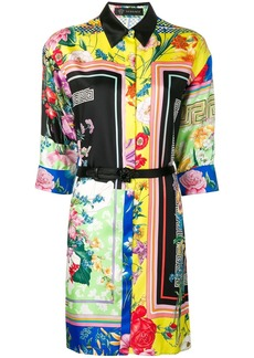 Versace floral print shirt dress