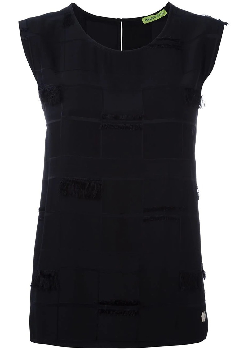 Versace frayed trim sleeveless top