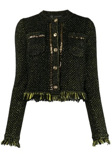 Versace fringe-trimmed knitted jacket