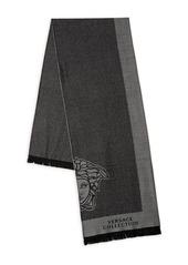 Versace Fringed Logo Wool-Blend Scarf