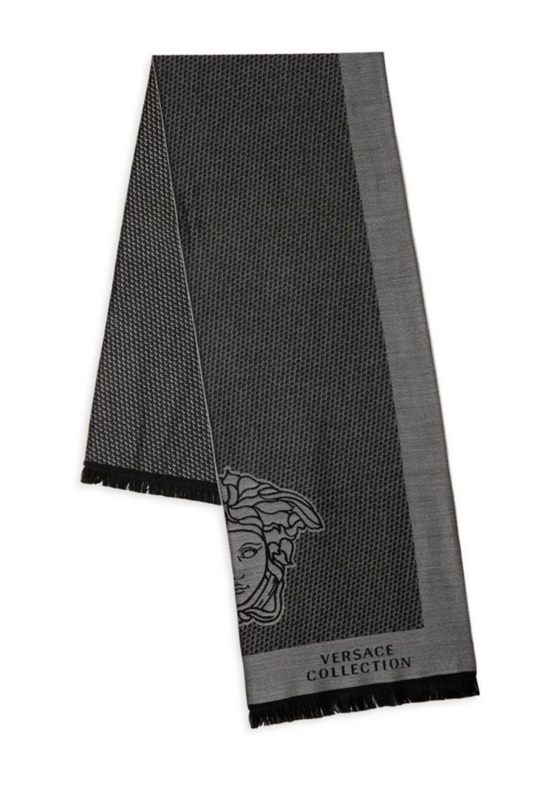 Versace Fringed Logo Wool-Blend Scarf