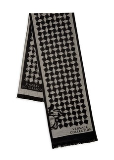 Versace Geometric Knit Wool-Blend Fringe Scarf