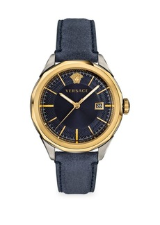 Versace Glaze Blue Dial Leather Strap Watch