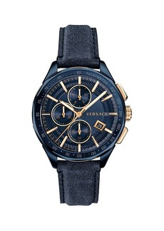 Versace Glaze Blue Dial Leather Strap Watch