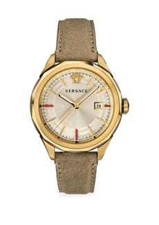 Versace Glaze Goldtone Leather Strap Watch