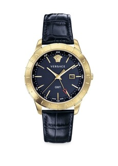 Versace Glaze Ion-Plated Croc-Embossed Leather Strap Watch