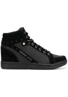 Versace glitter quilted hi-top sneakers