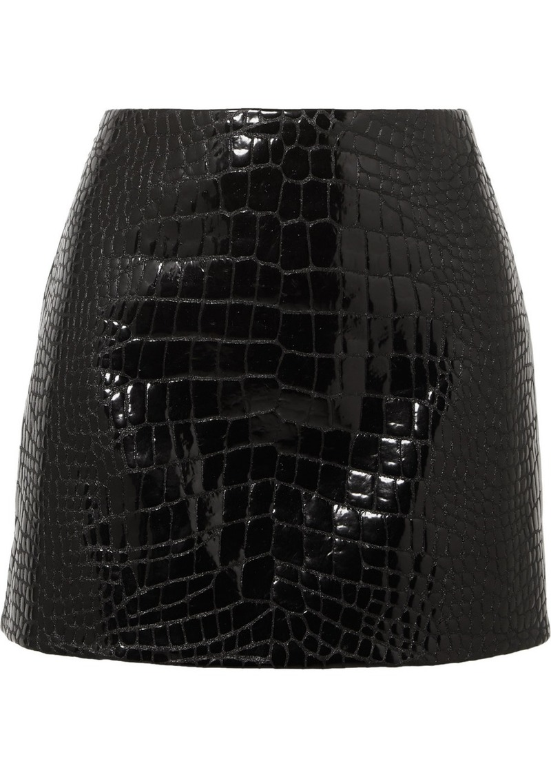 Versace Glossed Croc-effect Leather Mini Skirt