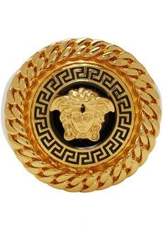 Versace Gold & Black Enamel Medusa Ring