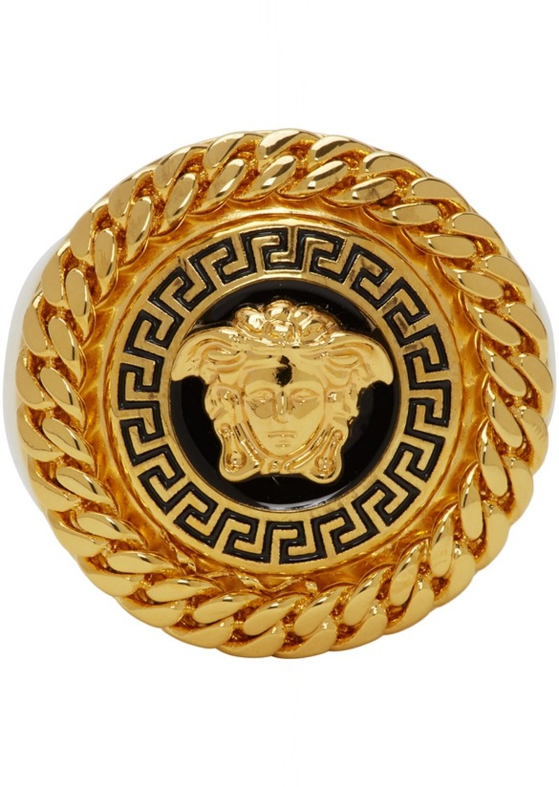 Versace Gold & Black Enamel Medusa Ring