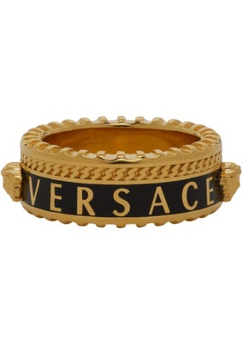 Versace Gold & Black Logo Band Ring