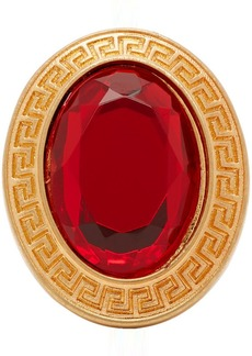 Versace Gold & Red Crystal Greek Key Ring