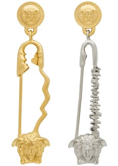 Versace Gold & Silver Safety Pin Earrings
