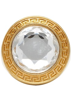 Versace Gold & Transparent Round Crystal Medusa Ring