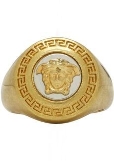 Versace Gold & White Medusa Medallion Ring