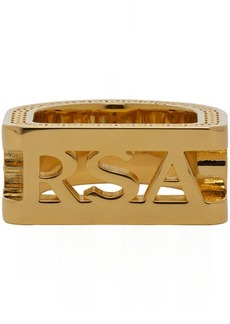 Versace Gold Cut-out Logo Ring