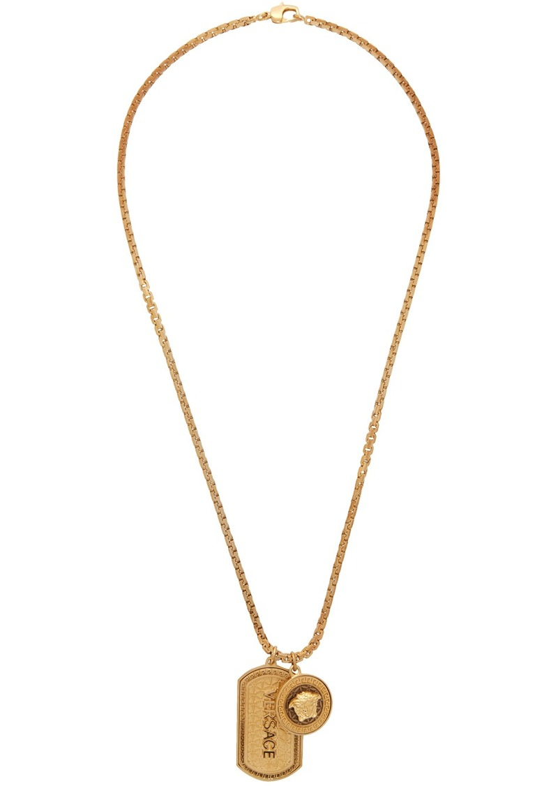Versace Gold Dog Tag Necklace