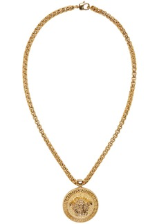 Versace Gold Large Round Medusa Head Necklace