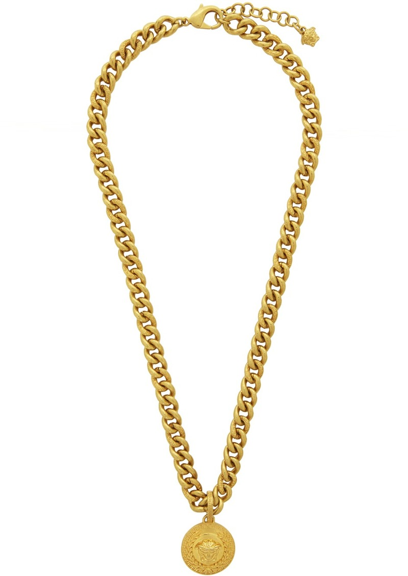 Versace Gold Laurel Medusa Pendant Necklace