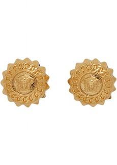 Versace Gold Medusa Chain Stud Earrings