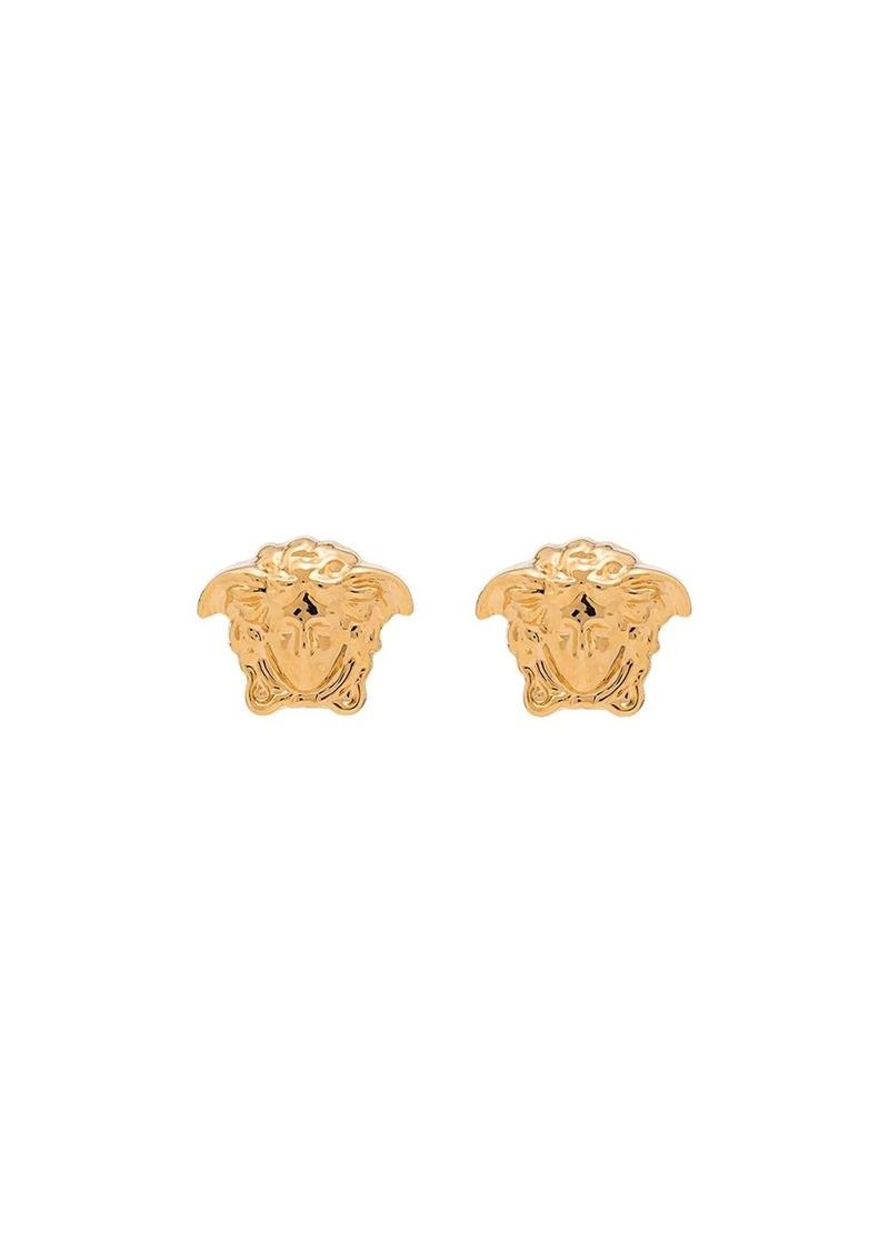 Versace gold metallic medusa stud earrings