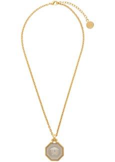 Versace Gold Octagon Medusa Pendant Necklace