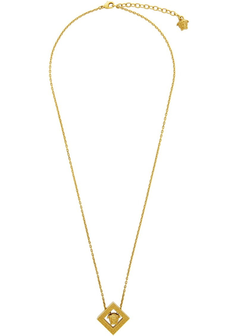 Versace Gold Rhombus Pendant Necklace