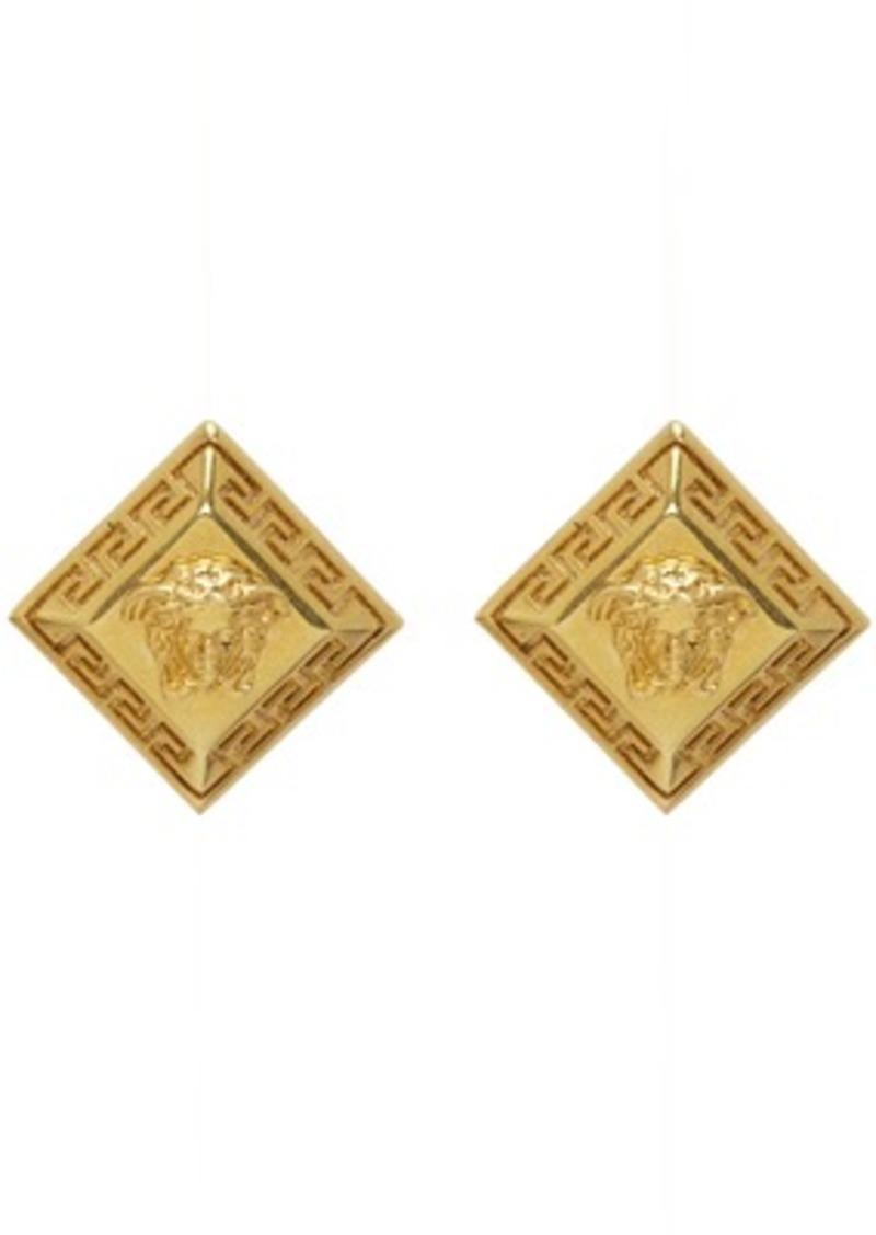 Versace Gold Rombhus Stud Earrings
