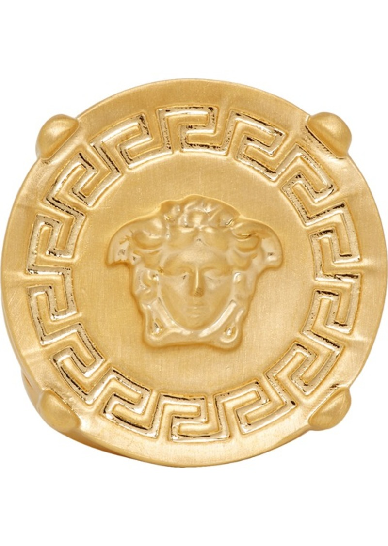 Gold Round Medusa Greek Ring