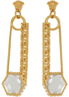 Versace Gold Safety Pin Earrings