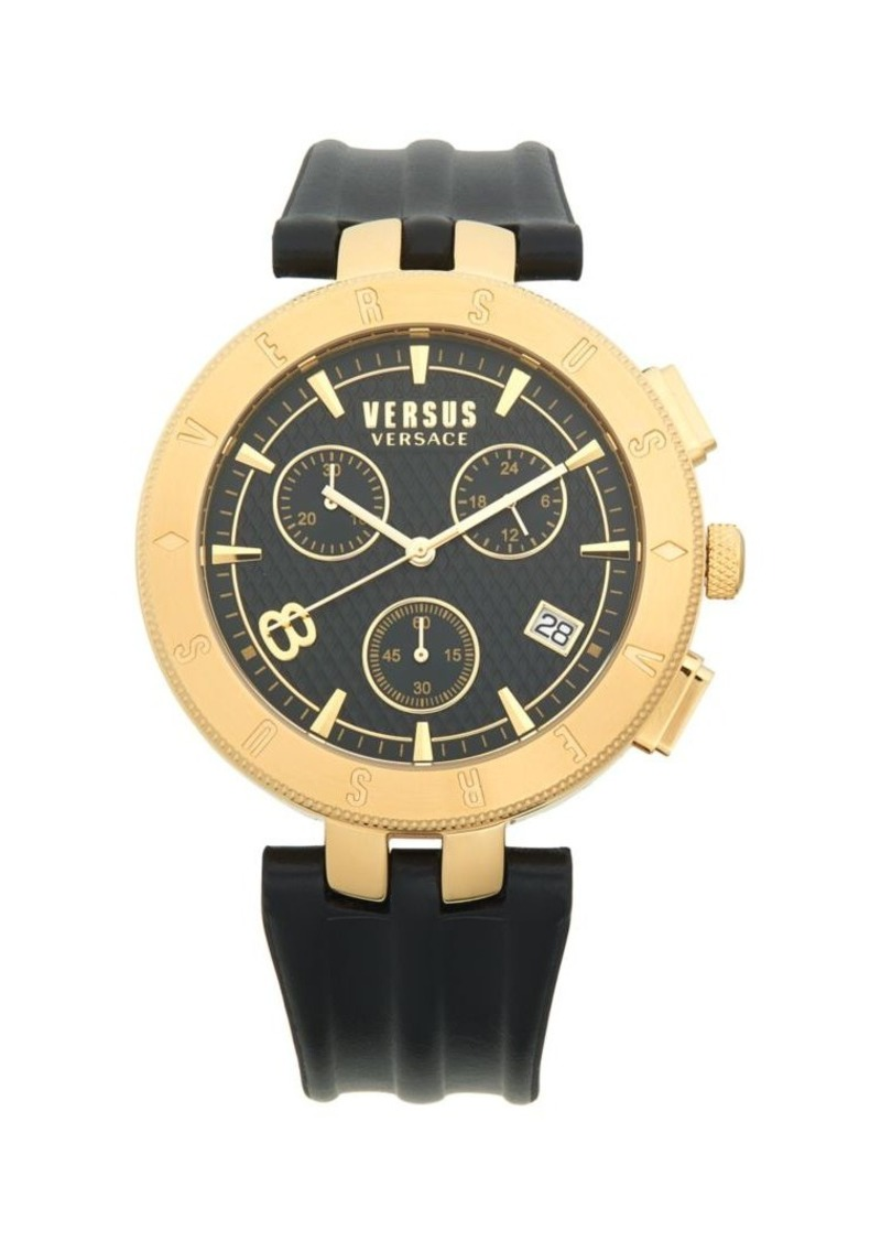Versace Goldtone Stainless Steel & Leather Strap Chronograph Watch