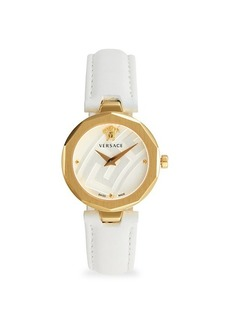 Versace Goldtone Stainless Steel & Leather Strap Watch