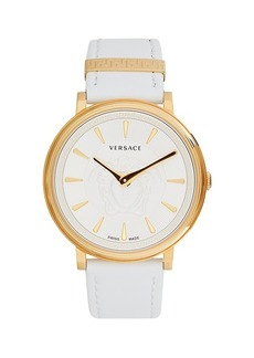 Versace Goldtone Stainless Steel Leather-Strap Watch