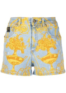 Versace graphic print denim shorts