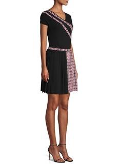 Versace Greca Short-Sleeve Knit Knife Pleat A-Line Dress