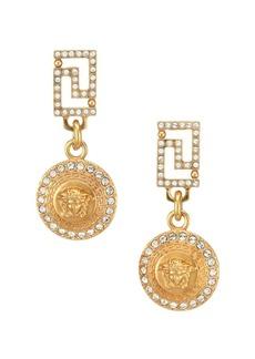 Versace Greca Swarovski & Metal Coin Drop Earrings