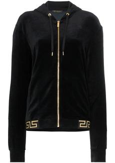 Versace Greek Key-trimmed velvet hoodie