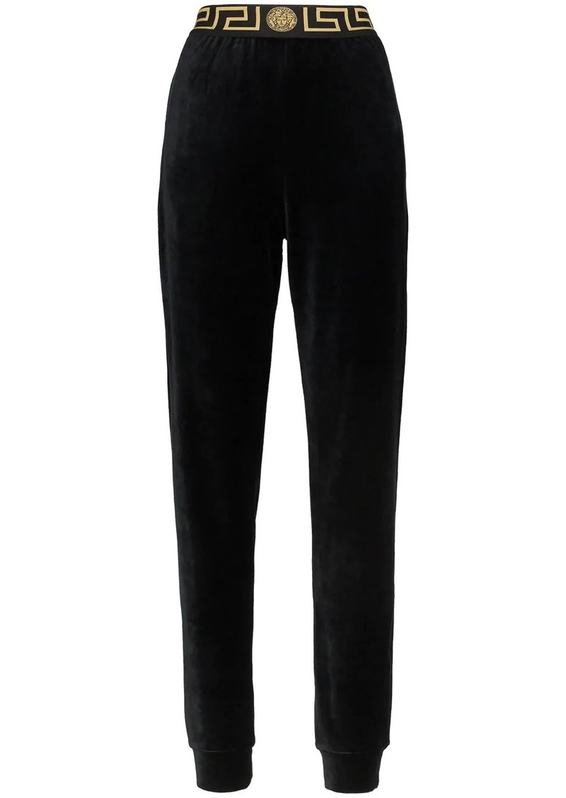 Versace Greek Key-trimmed velvet joggers