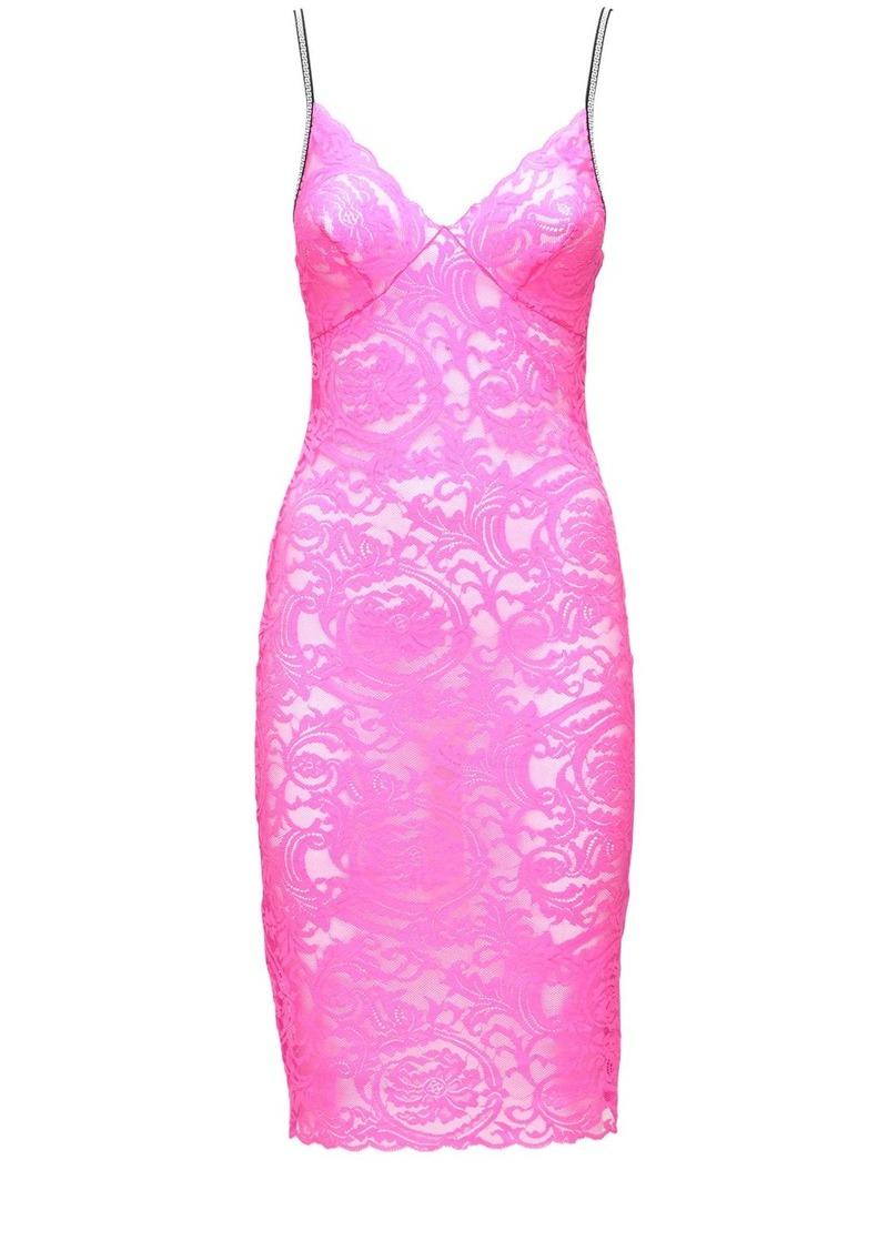 Versace Greek Lace Micro Strap Slit Dress