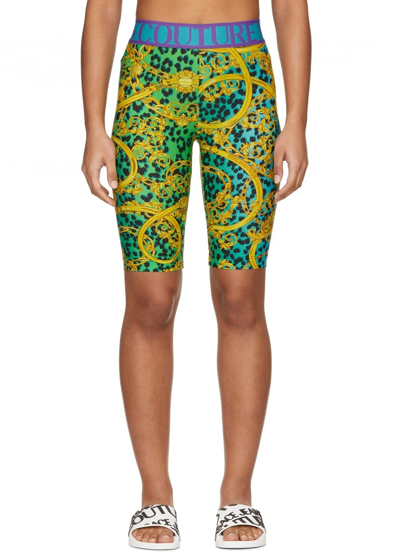 Versace Green & Gold Leopard Print Barocco Bike Shorts