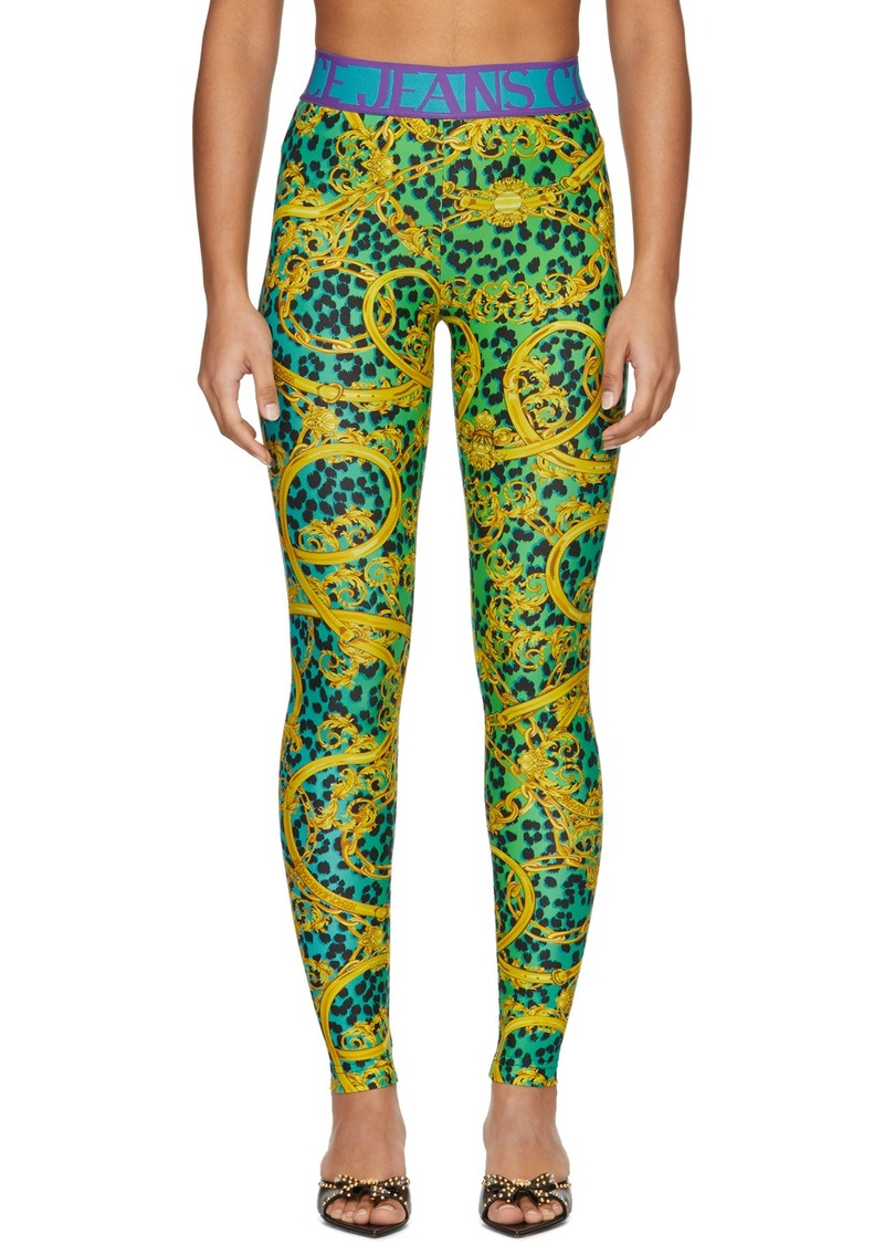 Versace Green & Gold Leopard Print Baroque Leggings