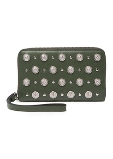 Versace Grommet Leather Wristlet Wallet