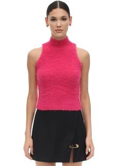 Versace Halter Neck Mohair Blend Knit Crop Top